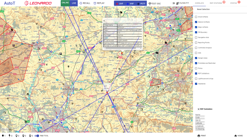 NATS mapping software in action - The red line shows the bearing to a nearby air station